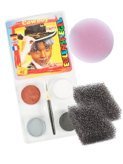 Cowboy Schminkset Karneval Make-up 4-teilig bunt