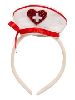 Krankenschwester Haube auf Haarreif weiss-rot