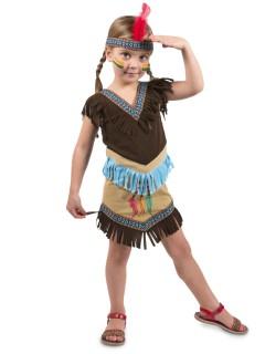 Indianerin Kinderkostüm Western braun-beige-blau
