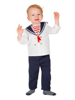 Kleiner Matrose Babykostüm Seefahrer weiss-blau