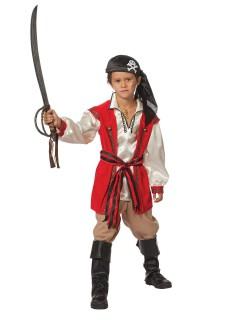 Pirat Kinderkostüm Seeräuber weiss-rot-beige