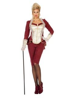 Elegante Gräfin Damenkostüm Barock dunkelrot-cremefarben