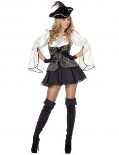 Elegante Piratin Damenkostüm Freibeuterin grau-schwarz-weiss