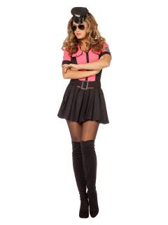 Sexy Polizistin Damenkostüm JGA pink-schwarz