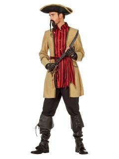 Pirat Kostüm Seeräuber beige-rot-schwarz