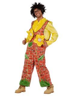 Mauerblümchen Kostüm Latzhose rotbraun-gelb-grün