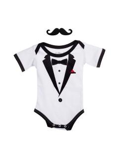 Gentleman Strampelanzug Baby Strampler schwarz-weiss