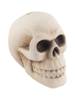 Totenschädel Spardose Skull Halloween-Deko beige 11x12x16cm