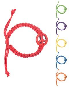 Hippie Leder-Armband Peace-Zeichen 60er-Jahre bunt