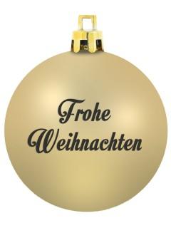 Geschenk-Weihnachtskugel  Frohe Weihnachten  mit Schlitz für Geldscheine gold 7cm
