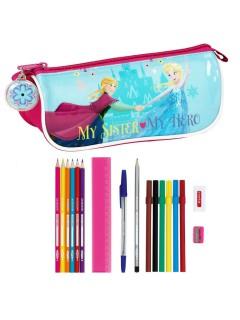 Frozen-Federmäppchen mit Stiften und mehr Disney-Fanartikel 18-teilig bunt