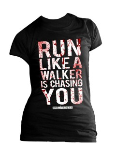 The Walking Dead Shirt für Damen Run like a Walker Girly Shirt schwarz
