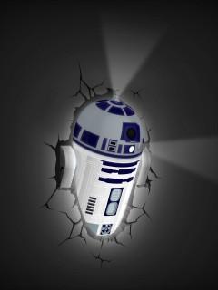 R2-D2™-3D Lampe Star Wars™-Lizenzprodukt weiss-blau 34x26,5x11,5cm