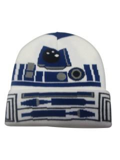 Star Wars Beanie Mütze für Kinder R2-D2 Lizenzware weiss-blau