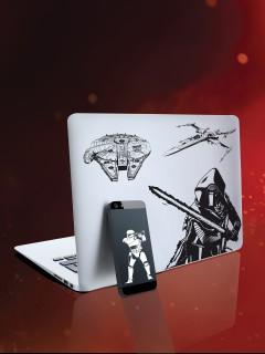 Star Wars™-Stickerset Lizenzartikel 10 Stück schwarz-weiss