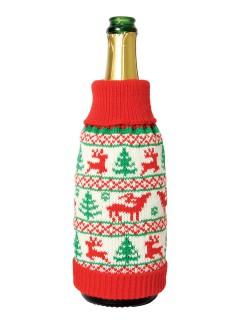 Weihnachten Flaschen-Deko Rentier-Pullover bunt