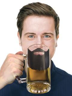 Witziges Bierglas mit Vollbart transparent-schwarz 500ml