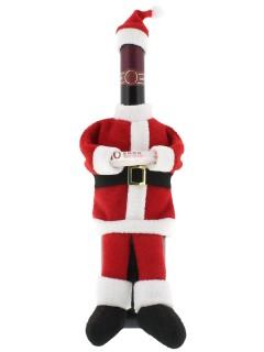 Weihnachtsmann Flaschenüberzug Tischdeko rot-weiss-schwarz
