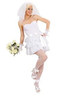 80er-Jahre Braut Popstar Damenkostüm weiss