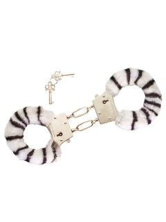 Plüsch-Handschellen Wildkatze Weisser Tiger schwarz-weiss-silber