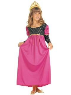Königin Kinderkostüm Mittelalter Märchen schwarz-pink-gold