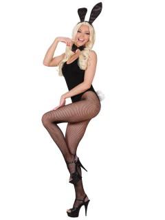 Bunny Damenkostüm-Set Hase Glitzer 3-teilig schwarz