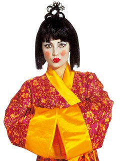 Geisha Perücke Asien Japanerin schwarz