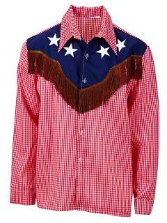 Cowboy XL Hemd Rodeo rot-weiss-blau