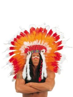 Deluxe Indianer Federschmuck Kopfschmuck Häuptling orange-weiss-rot