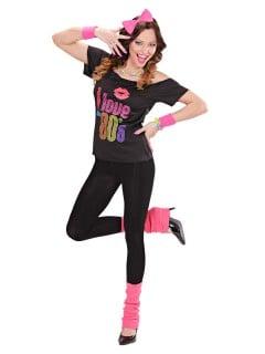 80er Jahre Kostüm-Set für Damen Disco 3-teilig schwarz-pink
