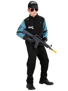SWAT Offizier Kinderkostüm Polizist schwarz-blau