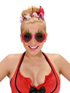 Funbrille Erdbeere Spassbrille schwarz-rot