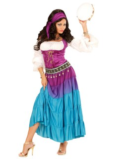 Geheimnisvolle Wahrsagerin Damenkostüm lila-weiss-hellblau