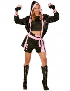 Heisse Boxerin Damenkostüm Sportlerin schwarz-pink