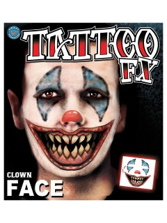 Schauriges Clown-Gesicht Klebe-Tattoo Set Halloween 6-teilig bunt 25x25cm