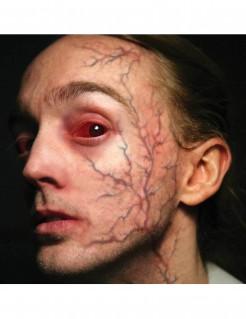 Rote Adern Gesichts-Tattoo-Set Halloween 4-teilig rot 30,5x15,2cm