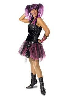 80er Jahre Punkerin Damenkostüm Gothic schwarz-pink