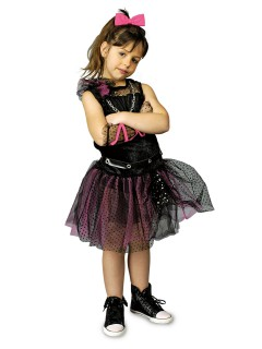 80er Jahre Punkerin Kinderkostüm Gothic schwarz-pink