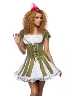 Sexy Bogenschützin Mittelalter Damenkostüm grün-weiss