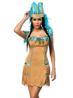 Süsse Indianerin Damenkostüm Wildwest beige-hellblau
