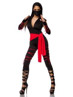 Sexy Ninja Damenkostüm Asien schwarz-rot