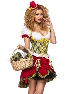 Sexy Mittelalter-Magd Damenkostüm grün-rot-weiss