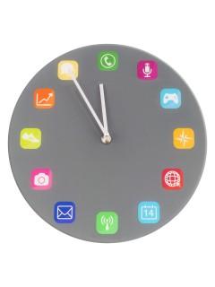 App-Uhr App-Icons Dekoration grau-bunt 30cm