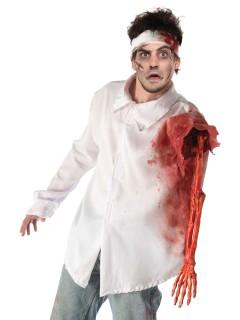 Blutiges Halloween Hemd mit Skelettarm Halloween Shirt weiss-rot