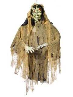 Gruseliger Zombie Hängedeko Figur Halloween grün-schwarz 140cm