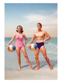 Retro Postkarte Pärchen am Strand bunt 10x15cm
