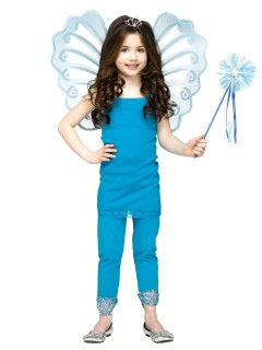 Kleine Fee Kinderkostüm-Set Flügel und Zauberstab 2-teilig blau