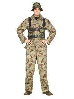 Gefährlicher Soldat Kostüm Kämpfer braun-grün