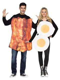 Lustiges Bacon und Ei Paarkostüm braun-weiss-orange