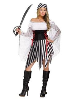 Heisse Piratin Damenkostüm Freibeuterin weiss-schwarz-rot